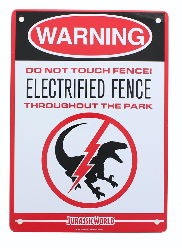 Jurassic World Electrified Raptor Fence Tin Litho Warning Sign LootCrate March 2017 Exclusive