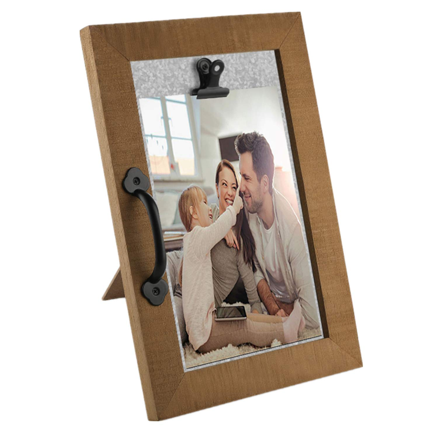 OUCHAN Family Father Mother Momory Picture Frame 4''x 6''- Distressed Photo Frame with Handle for Friends, Father, Mother, Family by OUCHAN
