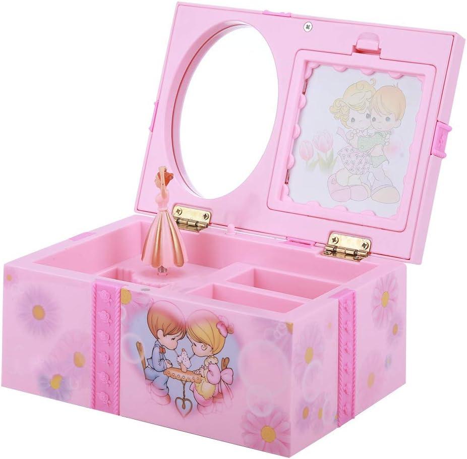 Gaorgas Caja de música Rosa, diseñada con Bailarina, Caja de Almacenamiento para Guardar Joyas de niña, incluidos aretes, alfileres y Pulseras