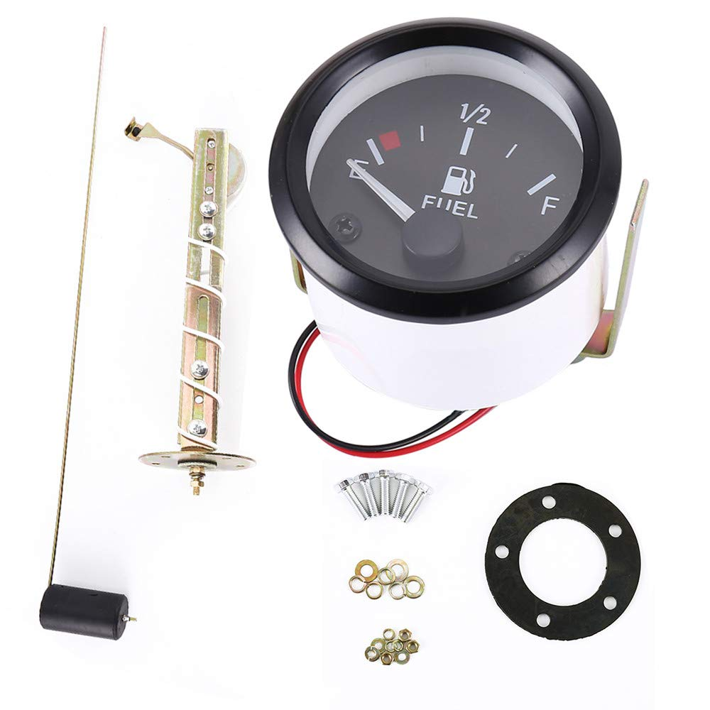 ODOMY Car 2'' 52mm Fuel Level Gauge Auto Meter with Fuel Sensor E-1/2-F Pointer Digital LED Electric Universal Car Pointer Meter Kit by ODOMY