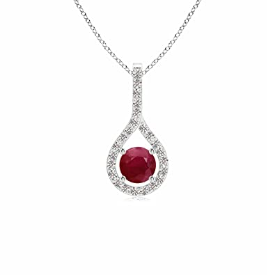 Angara Natural Ruby Teardrop Pendant in Platinum - July Birthstone Pendant 3gcdMXUU