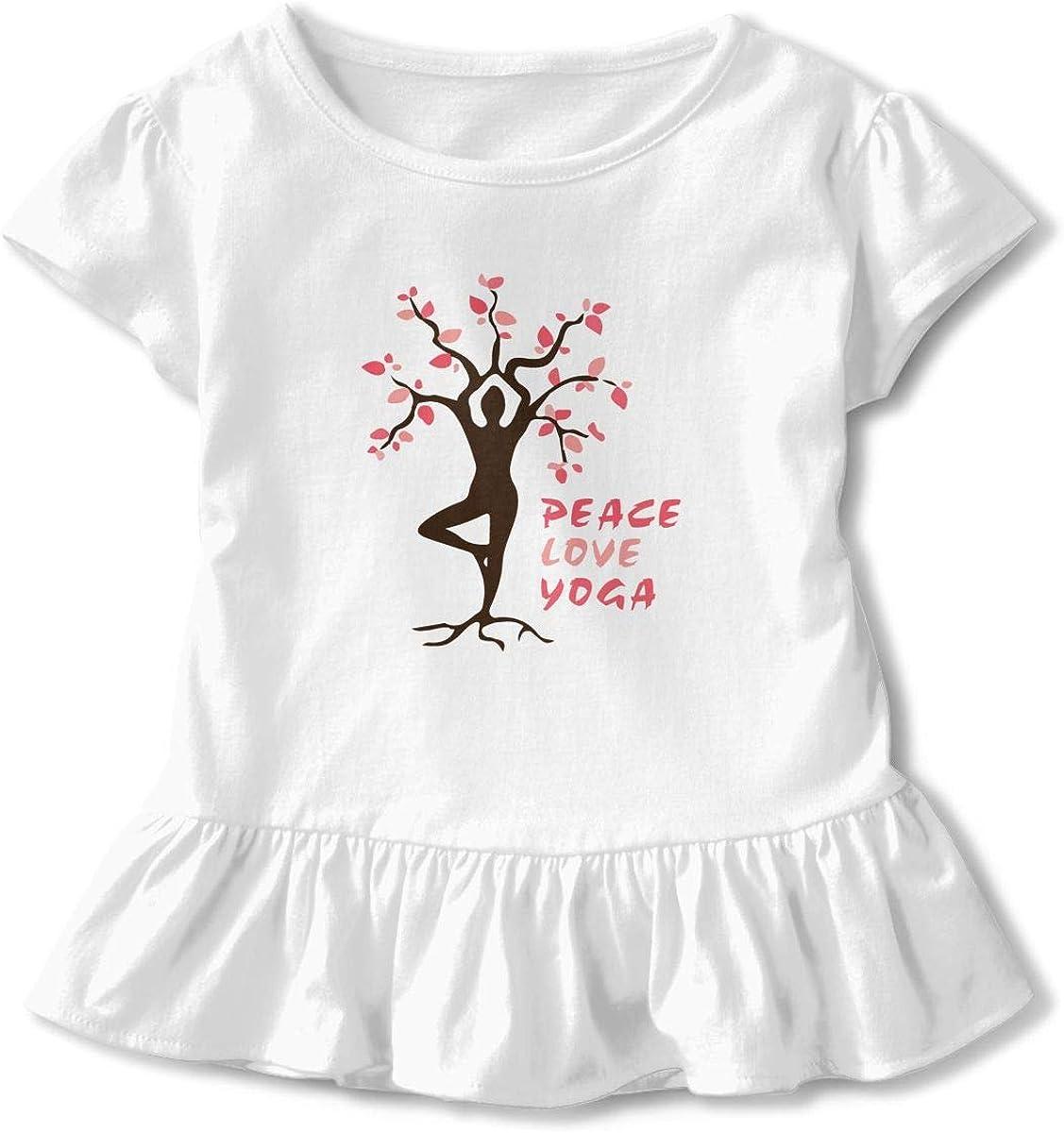 Peace Love Yoga Toddler Girls T Shirt Kids Cotton Short Sleeve Ruffle Tee