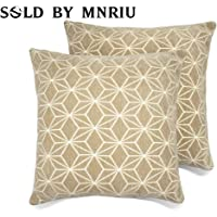Set of 2 Throw Pillow Covers Cushions 100% Cotton Invisible Zipper