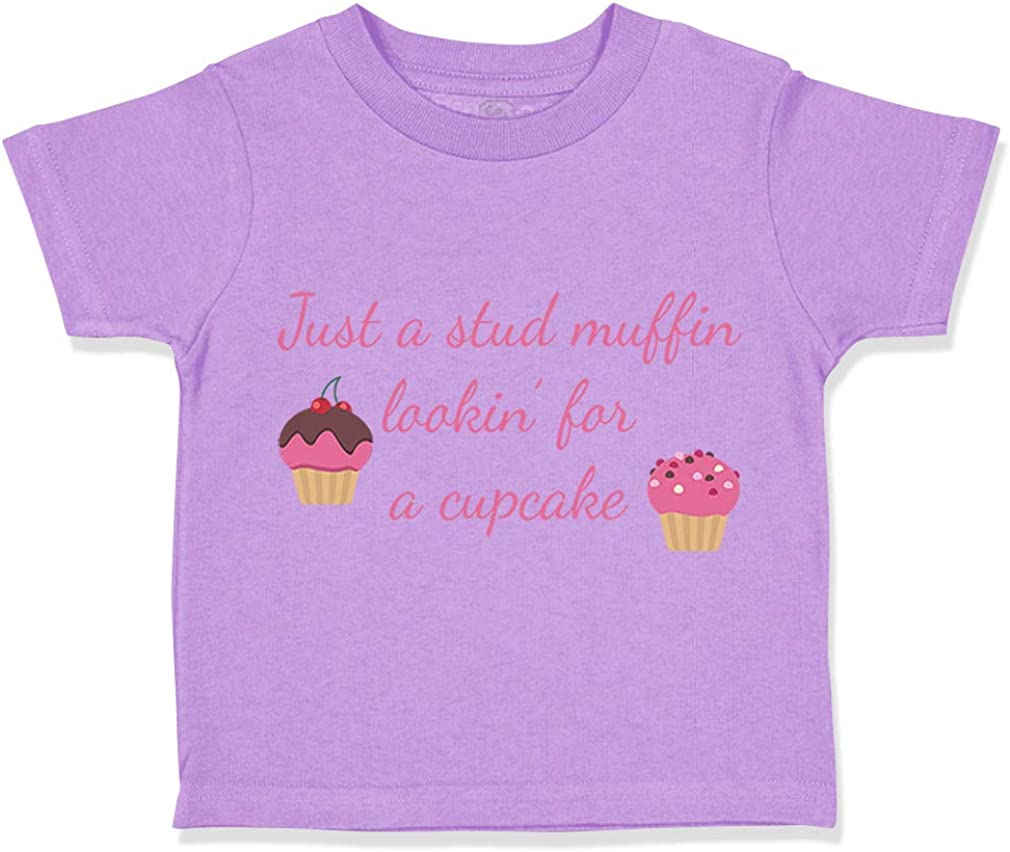 Custom Toddler T-Shirt Just A Stud Muffin Looking for Cupcake Birthday Cotton