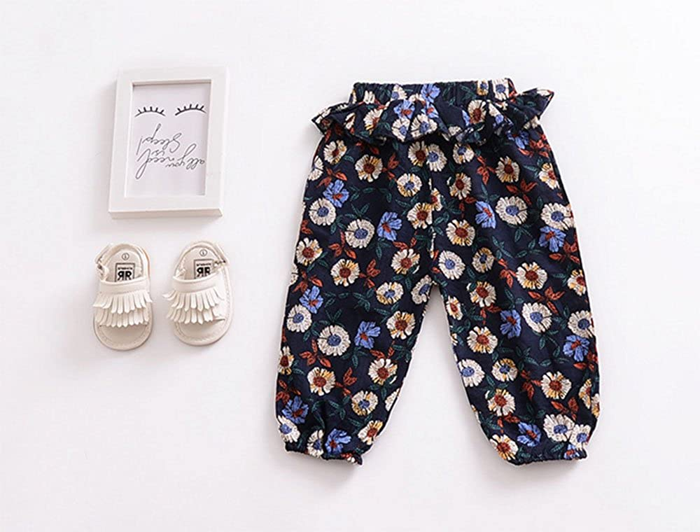 Childrens Cotton Linen Air Conditioning Pants Girls Lotus Leaf Pants Children Mosquito Pants Printed Summer Underwear