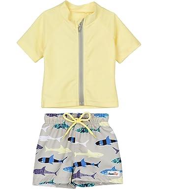 77ac42a96f Amazon.com: SwimZip Zipper Short Sleeve Rash Guard Swimsuit Set Shark Feast  Yellow: Clothing