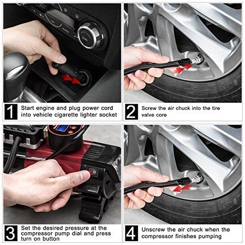 Tyre Pressure Gauge VicTsing digital Tire Tyre Air Pressure Gauge with pantalla LCD 100 PSI, 4 Units Air Tyre Pressure Tester Tool for Car SUV Truck Lorry, ...