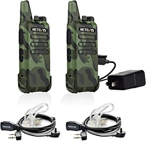 Retevis RT22 Walkie Talkies Rechargeable Long Range,Wireless VOX Two Way Radio with Air Tube Earpiece Adults Kids Camping Hiking Biking (2 Pack)