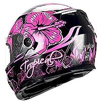 1Storm Motorcycle Modular Full Face Helmet Flip up Dual Visor/Sun Shield Lady Purple Flower Pink by Power Gear Motorsports