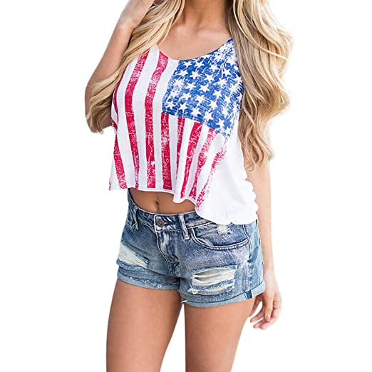 5971094f Amazon.com: Women Summer Tank Tops for Independence Day American Flag Print  V Neck Casual Loose Fashion T Shirts: Clothing