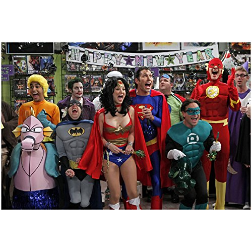 Cast of The Big Bang Theory 8 x 10 Cast Photo Kaley Cuoco-Sweeting/Penny, Kunal Nayar/Raj Koothrappali, Johnny Galecki/Leonard Hofstadter, Simon Helberg/Howard Wolowitz, Jim Parsons/Sheldon Cooper Justice League Costumes in Comic Book Store Pose 1 kn -