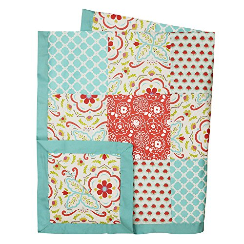 Gia Coral Pink and Aqua Blue Floral Baby Girl Patchwork Coverlet