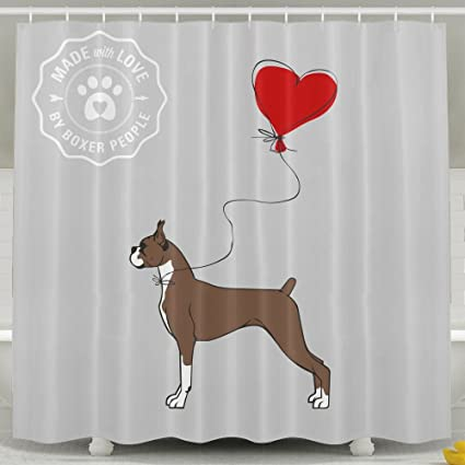 . Amazon com  Boxer Dog Bathroom Shower Curtain  Waterproof Bath