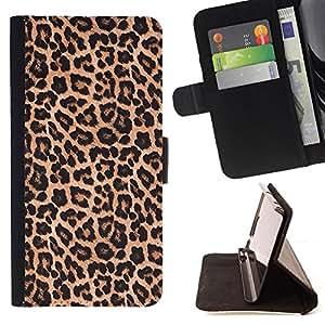 BullDog Case - FOR/Samsung Galaxy S4 Mini i9190 / - / leopard pattern fur brown golden /- Monedero de cuero de la PU Llevar cubierta de la caja con el ID Credit Card Slots Flip funda de cuer