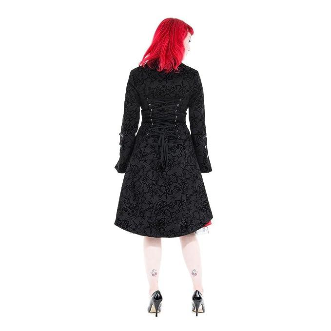 Hearts and Roses Black Vintage Tattoo Flock Fabric Long Coat: Amazon.co.uk:  Clothing