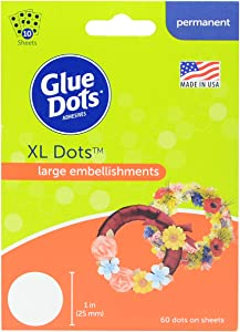 Glue Dots Permanent Adhesive Dot Sheets, Extra Large, Contains 60 ( 1 Inch) Diameter Dots (6100FC)