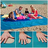 "LAGHCAT Sand Proof Blanket,Sand Free Beach Mat - Dirt & Dust disappear,Blue 79""x57"""