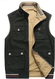 GMLCN 2018 New Double-Sided Vest Multi-Sacchetto degli Uomini di Fotografia degli Uomini Casual all'aperto Maglia Giacca da Uomo 8 Tasche (Colore : Cachi, Dimensioni : L.) Gao Meile factory
