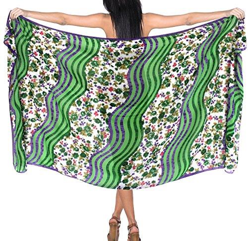 vestito Verde da bikini coprire da LEELA gonna bagno vestito involucro LA costumi bagno f581 costume scialle beachwear 6ZwpAxqp