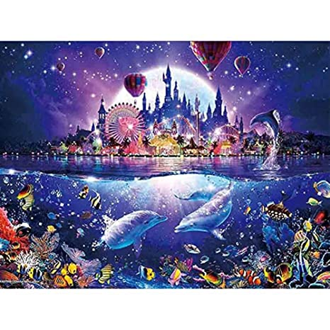 DIY Rhinestone Embroidery Cross Stitch Arts Craft for Home Wall Decor Dolphin Pink Ocean 40X30cm 5D Diamond Painting Kits Full Drill
