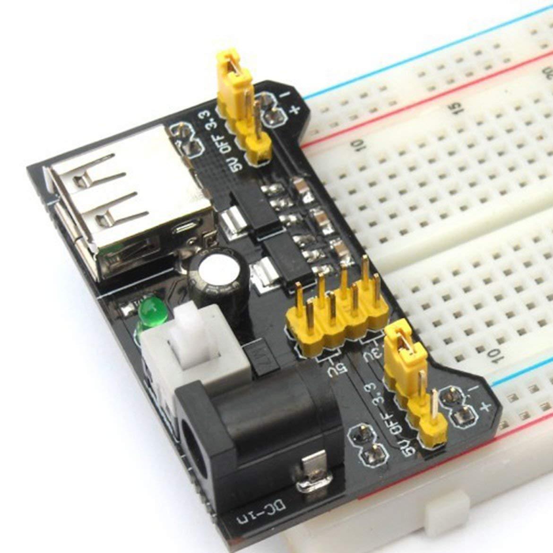 DC Color: Negro MB102 Breadboard Power Supply Module 3.3V // 5V Professional para Placa de Pan sin Soldadura 6.5-12 V o Fuente de alimentaci/ón USB
