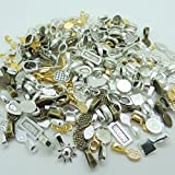100pcs Mix Color Style Spoon Glue on Bail for Earring Bails or Scrabble and Glass Pendants Charms Connector Jewelry