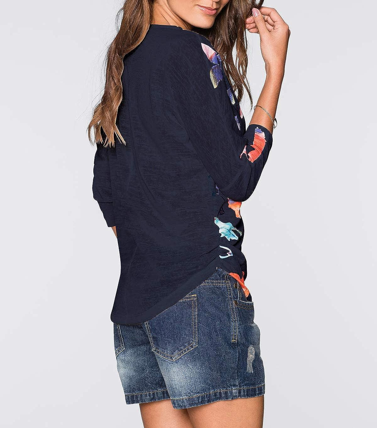 Primavera Otoño Mujeres Top con Cremallera Moda Cuello V Manga 3/4 Camisetas Blusa T-Shirt Casual Impresión Remata tee Shirt Jumper: Amazon.es: Ropa y ...