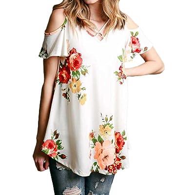 Hibluco - Camisas - Floral - para Mujer Blanco Blanco 34: Ropa y accesorios