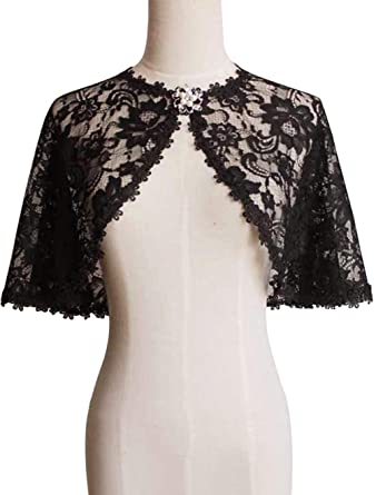6bfcc5e788c80 Vintage Lace Tulle Wedding Party Shrug Deco Bolero Scarf Shawls and Wraps, Black