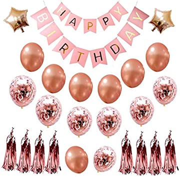 Sooair Pack de 22 Decoración Cumpleaños de Globos, Feliz cumpleaños Decoración Globos, Banner de cumpleaños para Fiesta con Globos para niñas y Mujeres (Rosa): Amazon.es: Juguetes y juegos