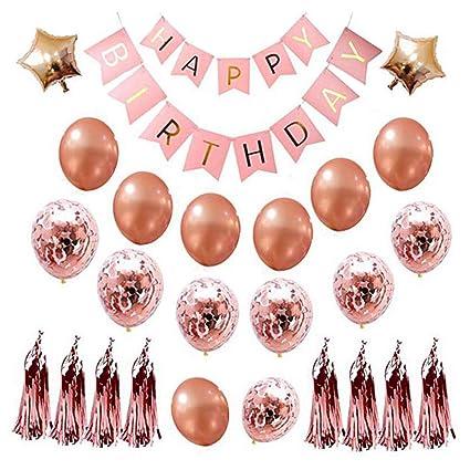 Sooair Pack de 22 Decoración Cumpleaños de Globos, Feliz cumpleaños Decoración Globos, Banner de cumpleaños para Fiesta con Globos para niñas y ...