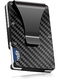 Carbon Fibre Wallet, Slim Money Clip & Minimalist RFID Blocking Front Packet Slim Wallet, Aluminum Metal Wallet...