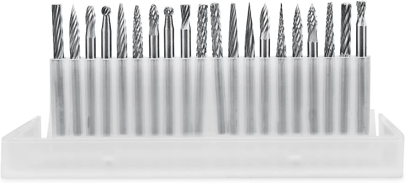 Aiskaer 20pcs 3mm Shank Tungsten Steel Solid Carbide Rotary Files Diamond Burrs Set Fits Dremel Tool for Woodworking Drilling Carving Engraving