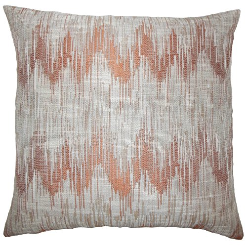 The Pillow Collection EURO-D-71097-MELON-P100 Fleta Ikat Bedding Sham, Euro/26