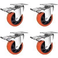 4 inch zwenkwielen, zwaar uitgevoerde 1200LB diameter 100 mm PU-rubberen zwenkwiel met remmen (4-pack)
