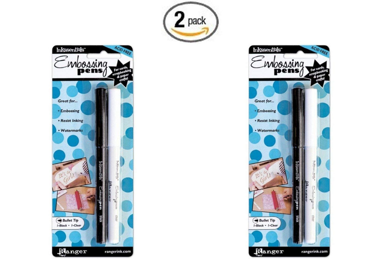 Ranger EMP20653 Inkssentials Embossing Pens, 2-Pack, Black And Clear Notions - In Network