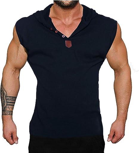 Coofandy Camiseta de Tirantes sin Manga con Capucha y Botones Deporte y Fitness