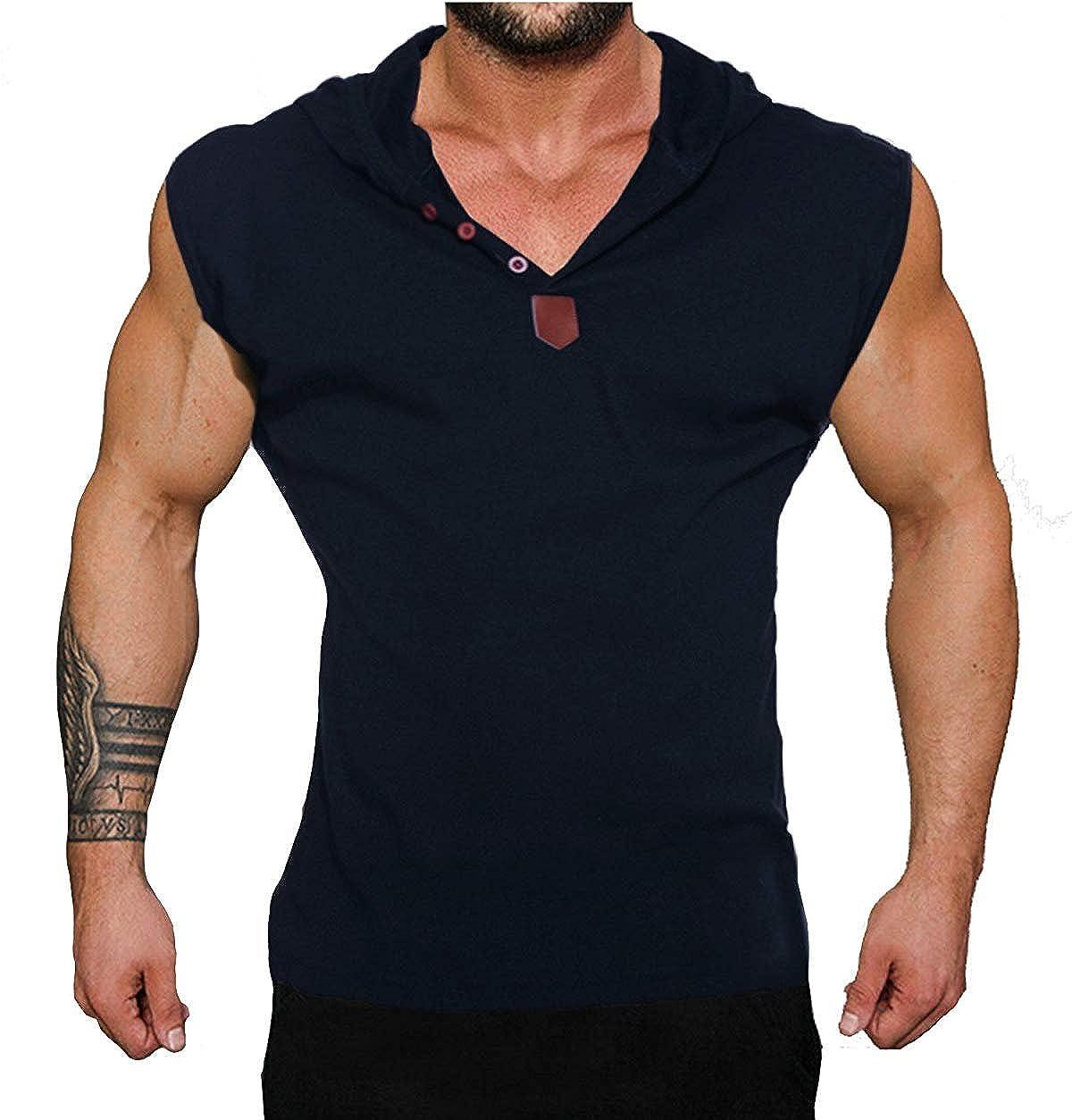 TALLA XXL(185-190cm, 80-85kg). Coofandy Camiseta de Tirantes sin Manga con Capucha y Botones Deporte y Fitness