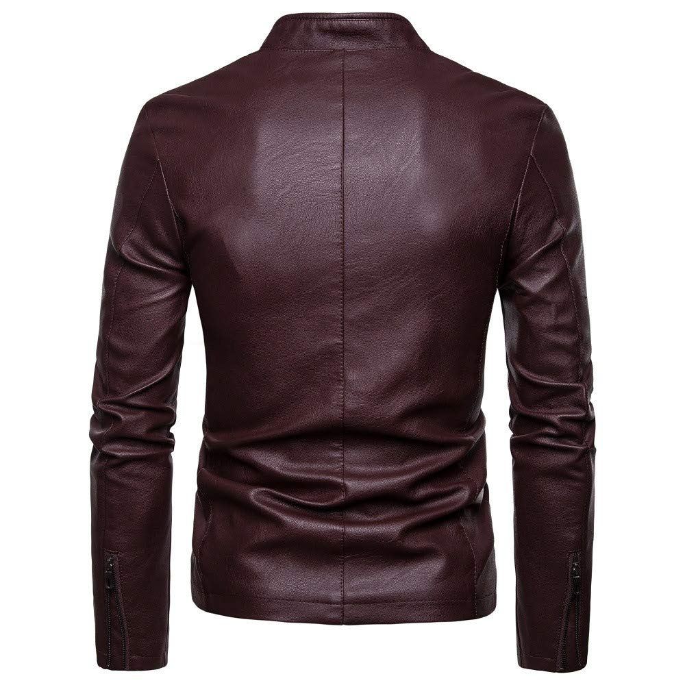 Pea Coat Men Big and Tall.Fashion Men Autumn Winter Warm Casual Leather Zipper Long Sleeve Jacket Coat Top