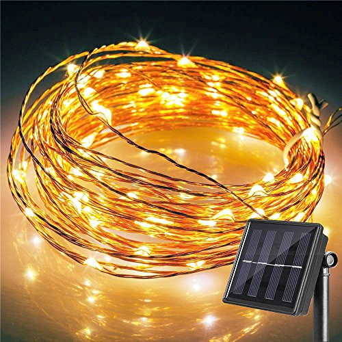 Solar Powered LED Starry String Lights, BI-LIGHT 33ft 100LED Copper Wire Fairy Lights, Indoor/Outdoor Waterproof Ambiance Lighting for Seasonal Holiday Christmas Party Wedding Garden Yard(Warm (Large Bulb String Lights)