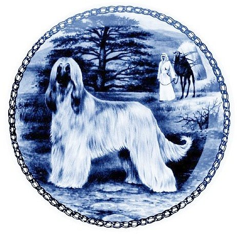Afghan Hound   Lekven Design Dog Plate 19.5 cm  7.61 inches Made in Denmark NEW with certificate of origin PLATE  7282