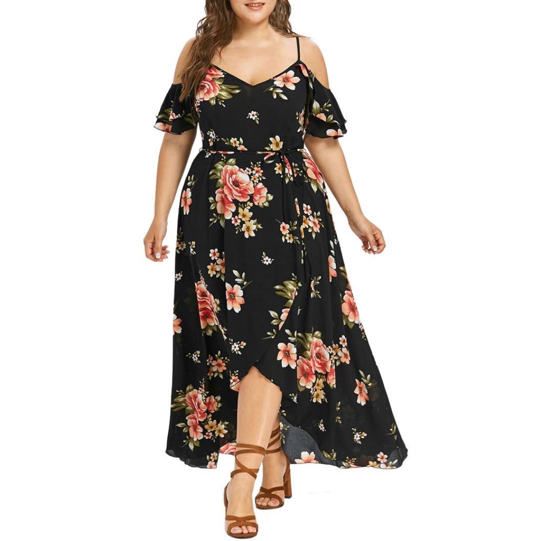 Hot Sale! Women Summer Plus Size Boho Floral Dress Casual Short Sleeve Cold Shoulder Sling Beach Long Maxi Dresses (Black, 3XL)