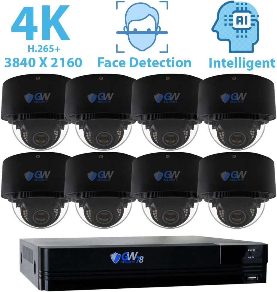 GW Security 8 Channel 4K NVR 8MP 3840×2160 H.265 IP PoE Security Camera System with 8 UHD 4K 2.8-12mm Varifocal Zoom 8.0 Megapixel Weatherproof Dome Camera, Face Recognition, Intelligence Analytics