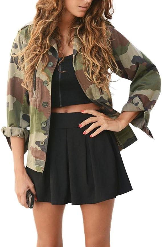 Amlaiworld Manteau Veste Blouson Femme, Manteau de Veste de Camouflage Veste d'automne d'hiver de Rue Vestes Casual Femmes