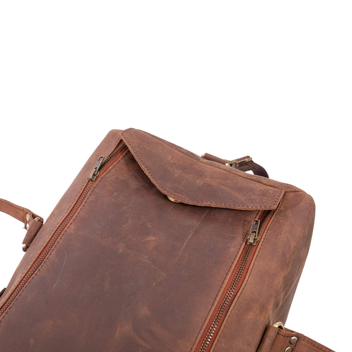 """Leather Native 24/"""" Brown Genuine Buffalo Leather Duffel 24 Inch Sports Gym Duffel Suits Men or Women Travel Overnight Weekend Leather Bag"""