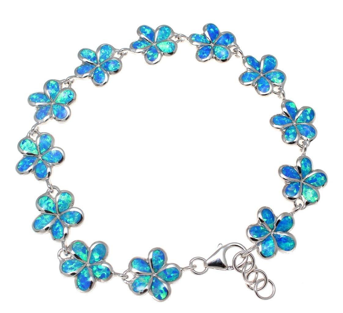 925 Sterling silver inlay synthetic blue opal 12mm Hawaiian plumeria flower bracelet 7.5''+