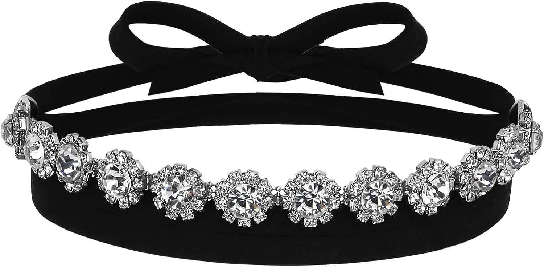 Daesar Mujer Choker Collar con Circonita Terciopelo Flor Wrap Charm Negro Plata Collar 141.5x1.4CM
