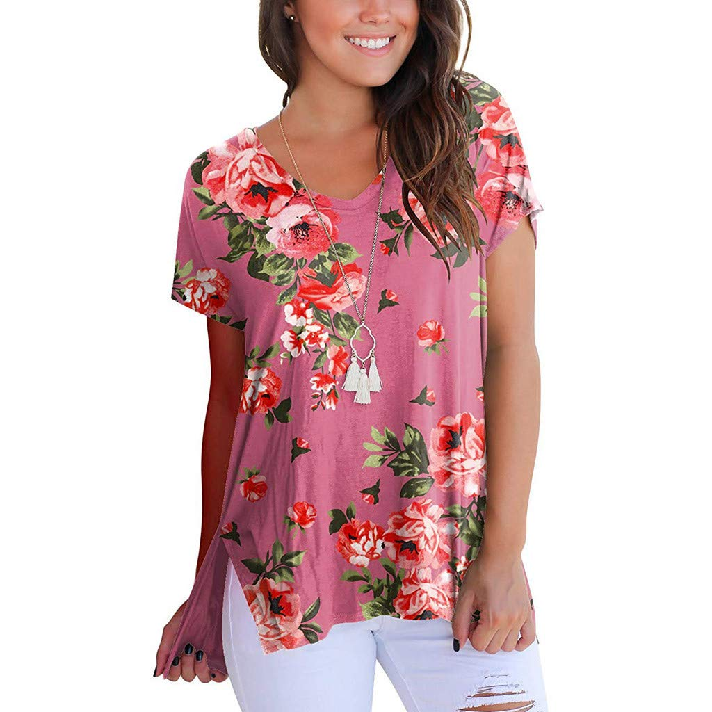 V Neck Tops Womens Short Sleeve Loose Blouse Floral Printed Casual T Shirt