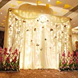 OMGAI Window Curtain Icicle String Lights of 300LED for Christmas Xmas Wedding Party Home Decoration Fairy Lights Wedding Party Home Garden Decorations 3m*3m(Warm White) (Upgraded Low Voltage)