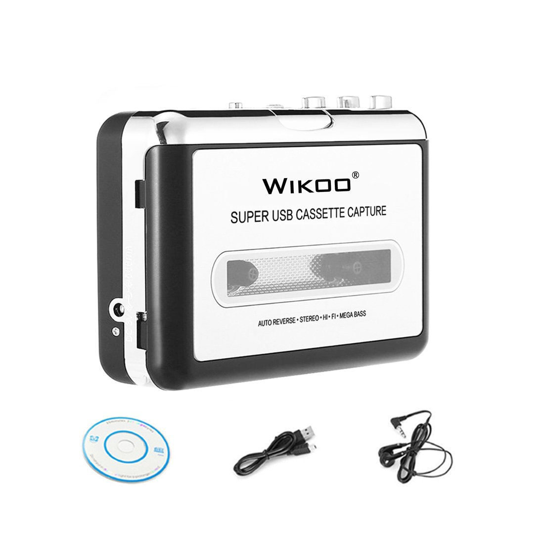 Cassette to MP3 Converter, Wikoo Portable USB Cassette-to-MP3 Player Converter, Convert Cassettes to MP3/CD with USB Cable, Headphones and Software